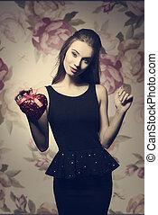 Romantic day - Young, beautiful, stylish, elegant girl in...
