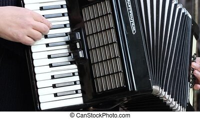 Man Playing Accordion - Musician is playing on accordion...