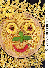 Smiley Pasta - Pasta smiley face abstract background on a...