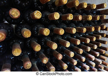 vineyard cellar with old bottles Wine bottles from cellar -...