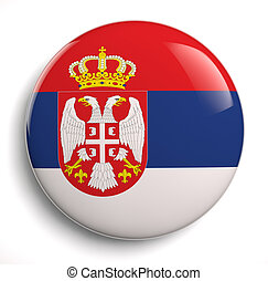 Serbia flag icon. Clipping path included.
