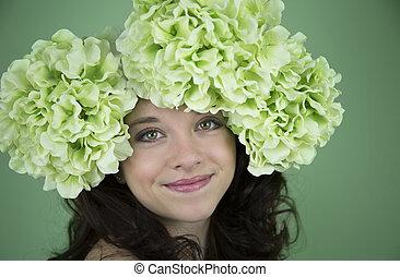 Beauty shot of teenage girl wearing