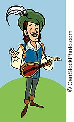 Cartoon funny medieval bard with a lute. vector illustration