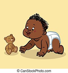 Funny vector cartoon colorfull crawling black baby. Vector...