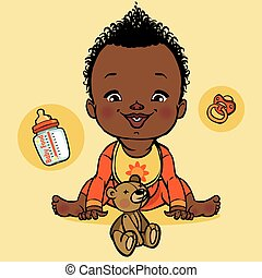 vector smiling black baby and baby equipment