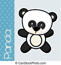 baby panda - cute little baby panda and text in flat design...