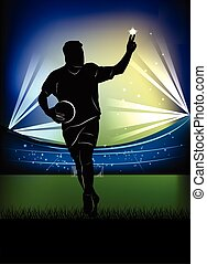 football player - victory sign - Vector illustration of...