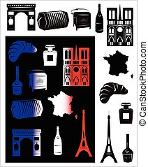 France picture and b-w hallmarks - Set of vector drawn...