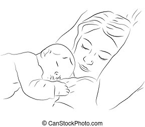 Sleeping mother and baby icon - Sketchy vector illustration...