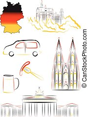 Germany sights and symbols - Set of vector drawn stylized...