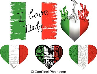 I love italy set - Set of flags and hearts in Italian...
