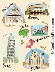 Italian sights in watercolours - Sights of Italy drawn in...