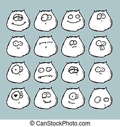 Funny cats - Vector set of funny cat's muzzles in various...