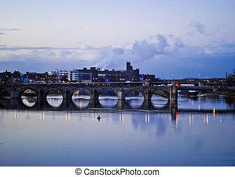 Maastricht. Saint Servatius bridge - Twilight view of Saint...