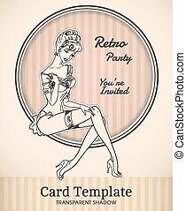 Vector pin-up card template - Vector retro pin-up woman...