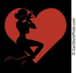 Shadow silhouette of hot girl in red heart - Vector black...