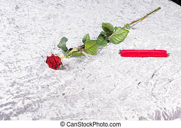 Romantic red rose and gift on a counterpane - Romantic red...