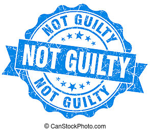 not guilty blue grunge seal isolated on white