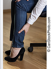 Varicose veins - Woman with high heels having varicose veins...