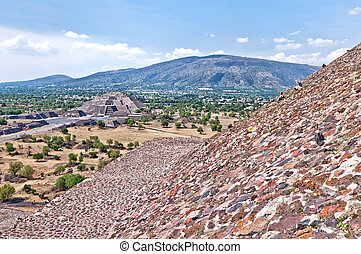 Teotihuacan, Aztec ruins, Mexico - View of the Avenue of the...
