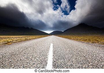 Road near Eystrahorn hill, East Iceland