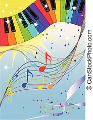 Rainbow jazz - Musical pattern with raibow colored piano...