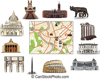 Rome Map and hallmarks - Map of Rome with hallmarks as...