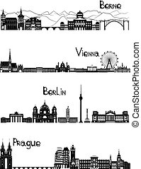 Sights of Berne, Berlin, Vienna and Prague, b-w vector -...