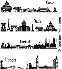 Sights of Rome, Paris, Madrid and Lisbon, b-w vector - Main...