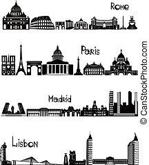 vues, de, rome, paris, Madrid, et, Lisbonne, b-w, vecteur,