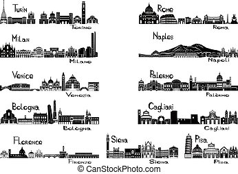 Silhouette signts of 11 cities of Italy - Turin; Milan;...