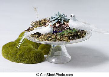 Centrepiece with Two White Doves, Moss and Lichens - Still...