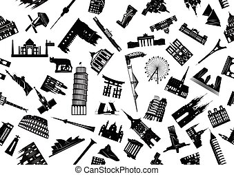 World sights seamless b-w - Vector seamless illustration of...
