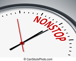 nonstop - An illustration of a clock with the word nonstop