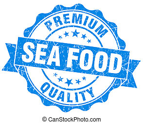 sea food blue grunge seal isolated on white