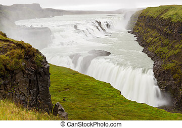 Gullfoss waterfall - Big Gullfoss waterfall in Iceland