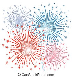 Red blue fireworks - Expressive vector fireworks in red and...