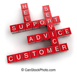 Support Crossword Concept - Customer service support...