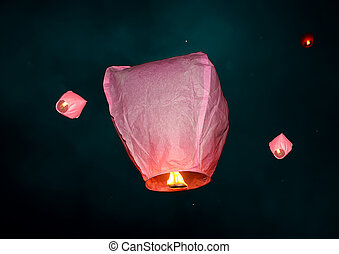 paper lamps in night sky - bright color paper lamps in night...