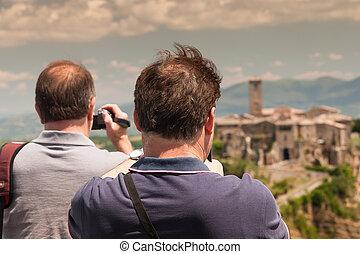 Tourists in Comune of Bagnoregio near Viterbo, Italy