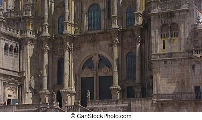 Obradoiro square tilt up Baroque west front Cathedral of...