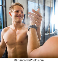 Happy Athlete Giving High-Five To Friend - Happy male...