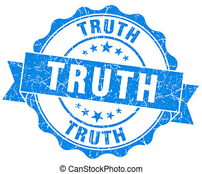 truth blue grunge seal isolated on white