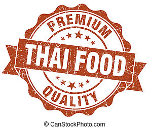 thai food brown grunge seal isolated on white