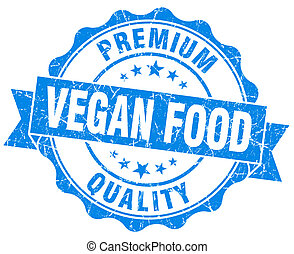 vegan food blue grunge seal isolated on white