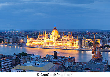 Historical building of parlament - Parlament, Budapest,...