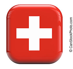 Swiss cross flag - Swiss white cross or red background flag