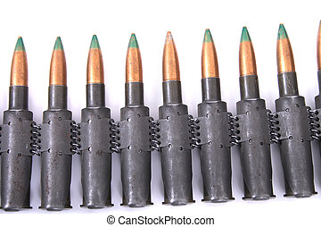ammo from gun isolated on the white background