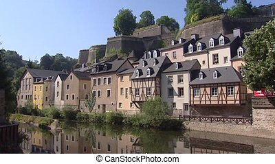 Luxembourg Grund at River Alzette pan Fortification Corniche...