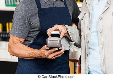 cliente, Pagar, con, mobilephone, Utilizar, NFC,...